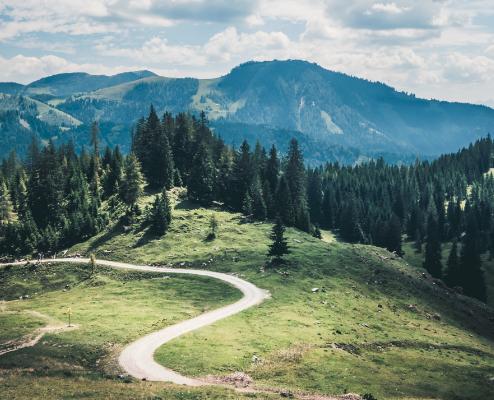 Sentier de montagne avec paysages verts autour